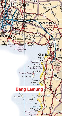 Location map Bang Lamung, North Pattaya